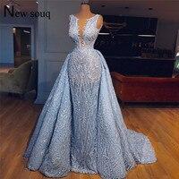 Голубое кружевное вечернее платье из двух частей, выпускные платья 2019, свадебные праздничные платья арабское Платье De Soiree, официальные кафт