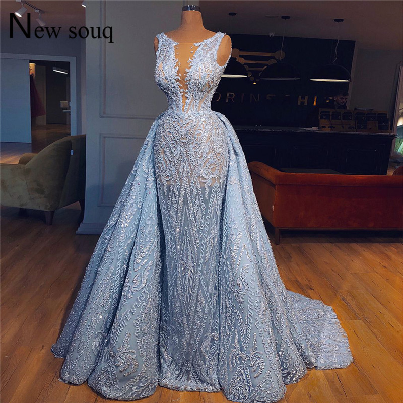 Blue Lace Illusion   Evening     Dress   Two Pieces Prom   Dresses   2019 Couture Wedding Party Gowns Arabic Robe De Soiree Formal Kaftan