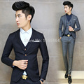 (Casacos + Calça + colete) 2014 Coreano New Men Suits Magro Custom Fit Tuxedo Moda Bridegroon Vestido de Negócios casamento Ternos Blazer
