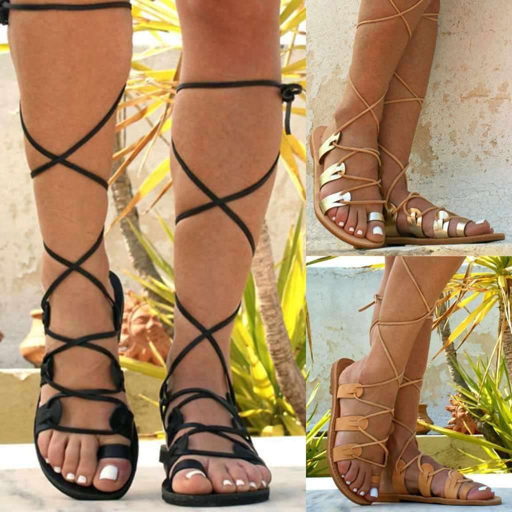 YOUYEDIAN נעלי אישה סנדלי נשים sandalias גלדיאטור רומא פתוח הבוהן רצועת רומי רוח רצועות הבוהן גדול גודל zapatos דה mujer # g5
