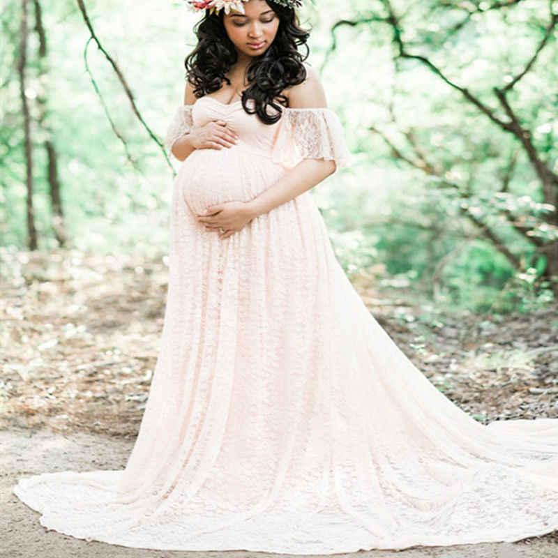 Envsoll Средства ухода за кожей для будущих мам Подставки для фотографий для беременных платье Кружево халат с открытыми плечами оборками Необычные Макси Средства ухода за кожей для будущих мам платье Для женщин длинное платье