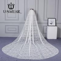 U SWEAR 2019 Новое поступление Женская свадебная вуаль собора один слой Флора изысканная ручная вышивка Mantilla свадебная фата