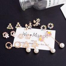 цены Korean Retro Colorful Rhinestone Wreath round Stud Earrings For Women  small Cute Flower Earrings Clothing Jewelry
