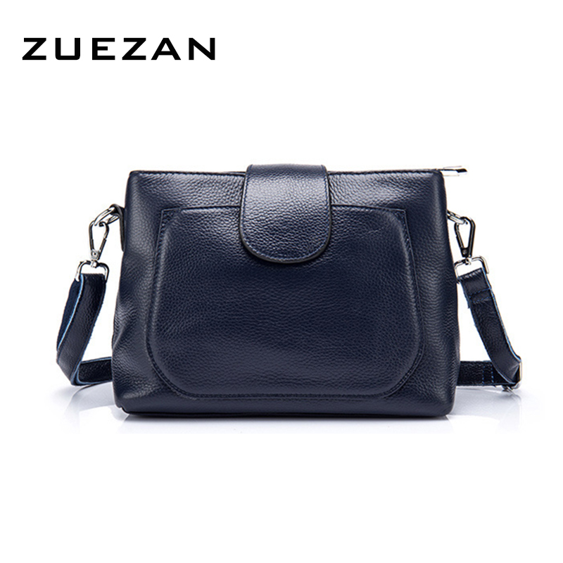 24*18*10cm, 2 Zipper Compartments, Women's Genuine Leather Messenger Crossbody Bag, Real Skin Female Shoulder Bag,A112-in Top-Handle Bags from Luggage & Bags    1