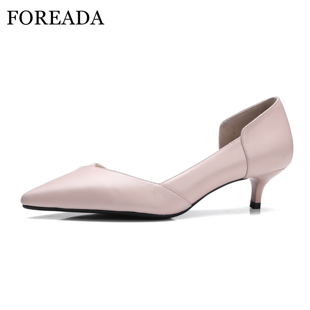FOREADA Women Genuine Leather Shoes 2018 Spring Med Kitten Heels Pumps Pointed Toe Office Shoes Ladies Pink Beige Big Size 42 43