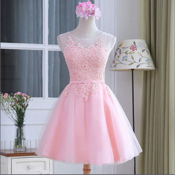 Pink Lace Appliques O-Neck