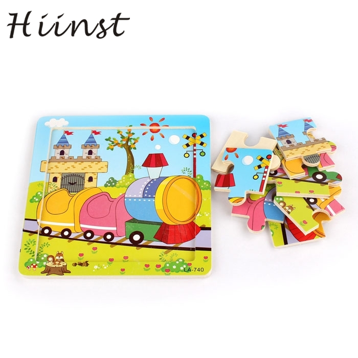 HIINST kids educational toys 2017 hot Wooden Train Puzzle Educational Developmental Kids Training Toy*R Drop