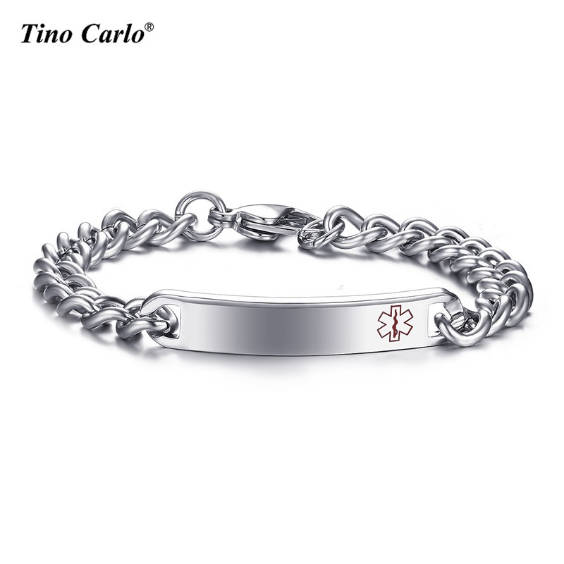 Tino Carlo Brand Star of Life Medical Alert Unisex Bracelet Stainless Steel Bulk And Cub ...