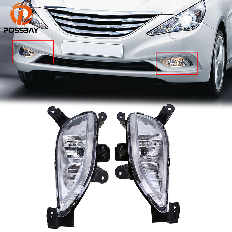 POSSBAY Car Styling Fog Light Assembly Halogen Fog Lamps for Hyundai Sonata (YF, 6th generation) 2011 2012 2013 Pre-facelift kiind of new blue women s xl geometric printed sheer cropped blouse $49 016