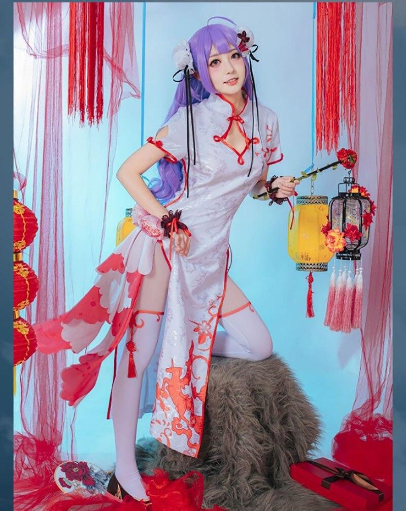 Juego Azur carril unicornio Cosplay disfraz mujer Delux brocado satén Cheongsam vestido chino Halloween carnaval uniformes - 5