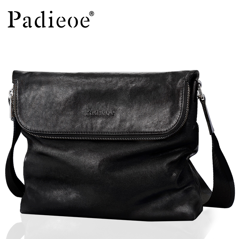 Padieoe Cowhide Leather Business Men Zipper Brand Crossbag Genuine Leather Fashion Shoulder Bag Luxury Male Messenger Bags padieoe men s genuine leather briefcase famous brand business cowhide leather men messenger bag casual handbags shoulder bags