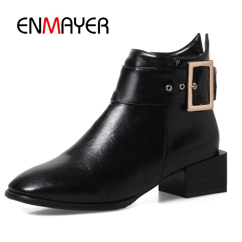 ENMAYER Women Ankle boots Martin boots Shoes women Big size 34-43 Causal Shoes Metal decoration ,Pointed Toe Thick heels CR386