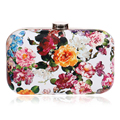 Fashion Women Pu Floral Printed Evening Bags Small Purse Day Clutches Evening Bag With Chain Shoulder Bag For Wedding