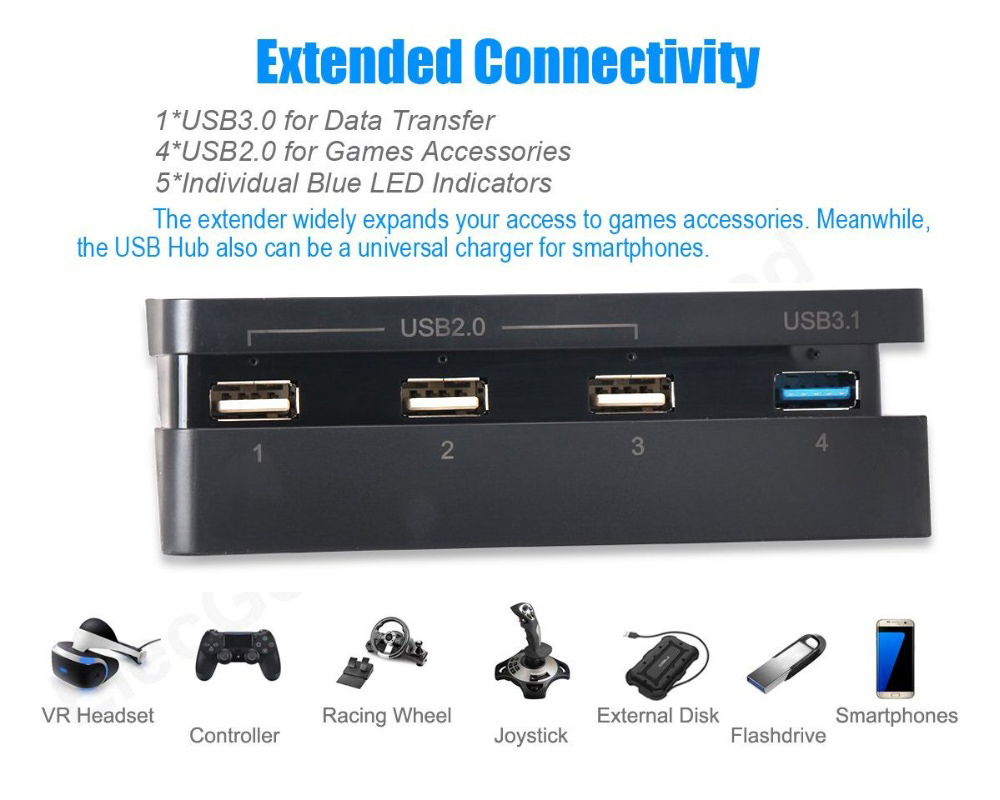 PS4 Slim HUB for Comfortable with Sony Playstation 4 Console 1 USB 3.0 + 3 USB 2.0 Ports 3