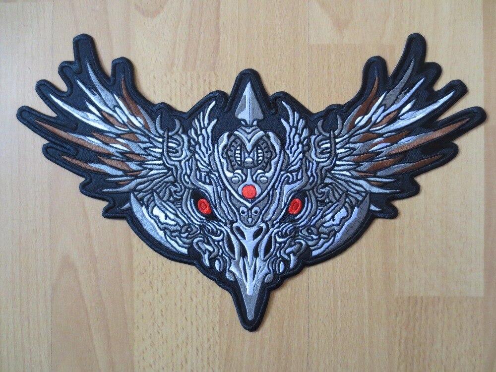 13,8 tums stora broderipatchar för jacka bakväst motorcykelbiker iron on devil eagle