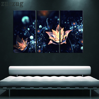 3Pcs Modern HD Printed 3D Flowers With Black Background Home Decor For Living Room Painting On Canvas Wall Art Picture Decor