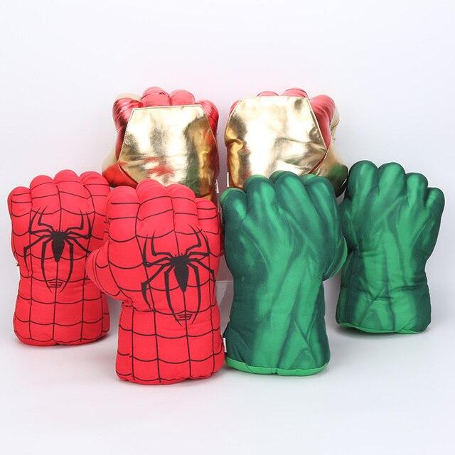 26 cm Os Vingadores Super Herói Homem De Ferro homem Aranha Luvas Hulks boxe Luvas Luvas Crianças Presentes brinquedos de pelúcia