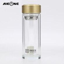 Borosilikatglas Wasserflasche Doppel-schicht Transparent Kristall Glas Wasserflasche 500 ml Drink Farbe Goldenen und Schwarz