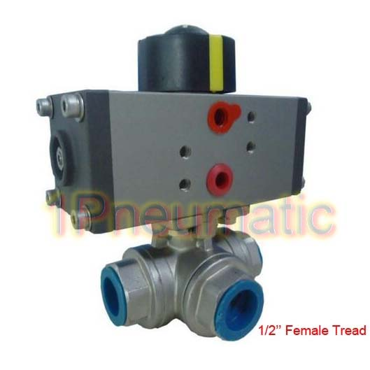 Hot Sales Pneumatic Actuator Valve With G1/2'' T Type 3 Way Stainless Steel Ball Valve One Set AT-15 smc type pneumatic solenoid valve sy5120 3lzd 01
