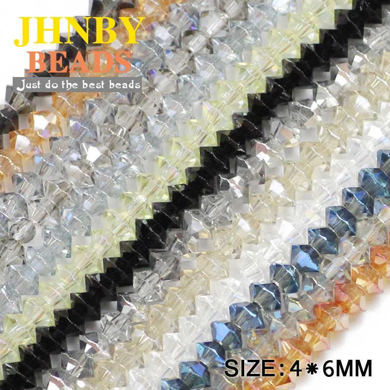 """חללית JHNBY גביש אוסטרי צורת חרוזים 4*6 מ""""מ כפול 100 יחידות צבע AB Bicone Loose חרוזים לתכשיטי צמיד קבלת DIY"""