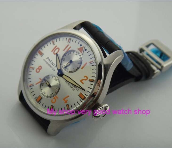 47 mm PARNIS Silvery- white dial Automatic Self-Wind movement power reserve men watches Mechanical watches gx247 mm PARNIS Silvery- white dial Automatic Self-Wind movement power reserve men watches Mechanical watches gx2