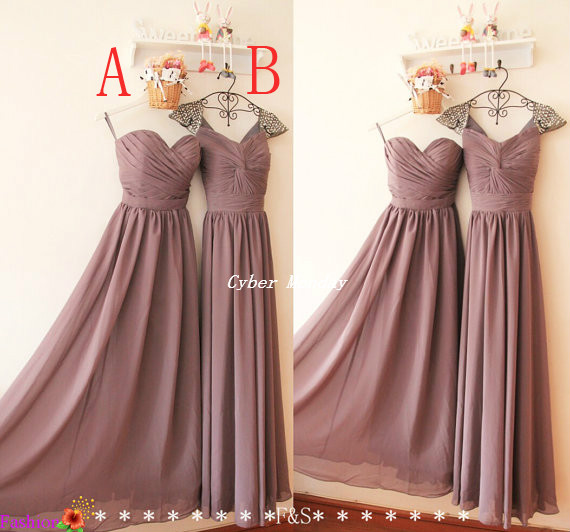 Free Shipping Real Sample Pictures Mauve Colour Bridesmaid Dresses 2 Styles  Long Chiffon Dress BD265 e69b6c72a942