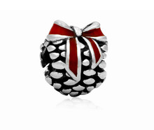 Exquisite Silver Plated Pink Enamel Pinecone Christmas gift Charm Bead Fit Pandora Bracelet Bangle Necklace Accessories G2-03