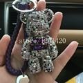 bling teddy bear keychains car keyring keychains cute animal key chains bag handbag purse charms genuine leather rope strip