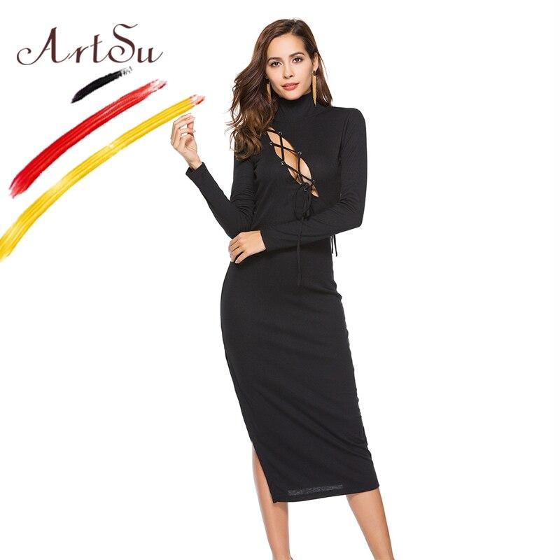 ArtSu Sexy Hollow Out Cross Bandage Dress Women Turtleneck Split Knitted Dress Winter Slim Bodycon Midi Dress Vestido De Festa цена