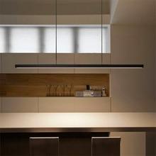 Modern Fish Line Long Wood LED Pendant Lamp Bar Restaurant Office Study Art Lights Lighting Hanging Lustre