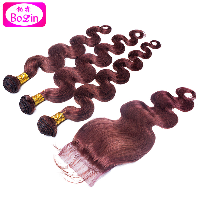 #33 Virgin Hair Brazilian Virgin Hair with Closure Human Hair Weave with closure Brazilian Body Wave with Lace Closure