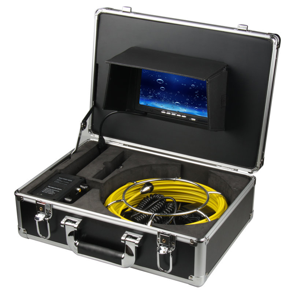 50M Sewer Waterproof Camera Pipe Pipeline Drain Inspection System 7LCD DVR 1200TVL Camera with 12 LED Lights 4GB SD Card dhl free wp90 50m industrial pipeline endoscope 6 5 17 23mm snake video camera 9 lcd sewer drain pipe inspection camera system