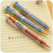 1 Pcs 6in1 Ballpoint Pen Multi Color Ball Korean Stationary Marking Pens Office School Supplies
