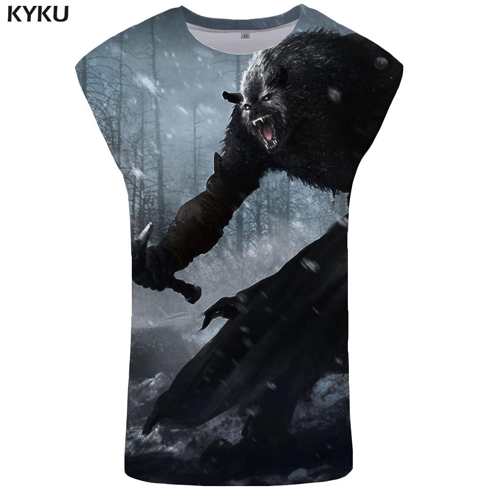 KYKU Wolf   Tank     Top   Men Animal Undershirt Anime Mens Bodybuilding S-Xxxxxl Stringer Vest Ftness Clothing Sleeveless Shirt 2018