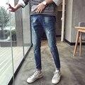 Calças de brim Dos Homens Da Moda 2017 Nova Primavera Slim Fit Mens Calça Jeans homem Calça Jeans Motociclista Venda Quente Algodão De Alta Qualidade Meados de Cintura Calças dos homens 36