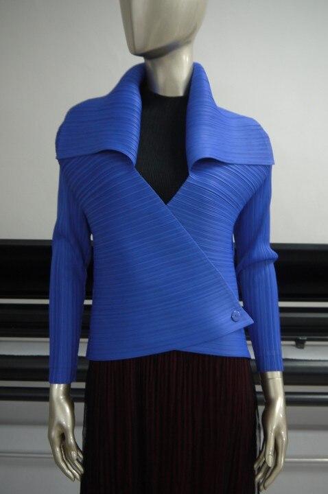 Pleated font b jacket b font short fashion body lapel thin long sleeve buckle coat FOLD