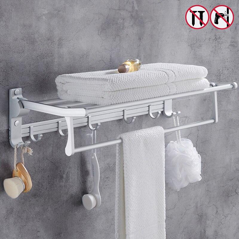 Nail Free Foldable Bath Towel Racks Active Bathroom Towel Holder Double Towel Shelf With Hooks Bathroom Accessories foldable black bronze bath towel rack active bathroom towel holder double towel shelf with hooks bathroom accessories