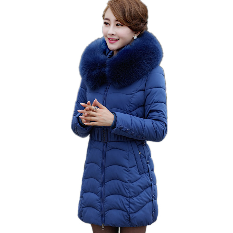 Winter Cotton Padded Large Fur Collar Thick Coat Parka Medium-long Casaco Feminino Inverno Fashion Warm Zipper Jacket TT2877 thick warm long winter jacket women parkas 2017 fur collar hooded cotton padded winter coat female casaco feminino invero