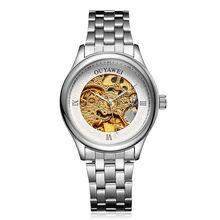 Venda quente Prata Ouro Skeleto Automáticas Homens Mecânicos do Relógio de Aço Mens Relógio de Pulso Luminoso Slef-Vento relogio masculino