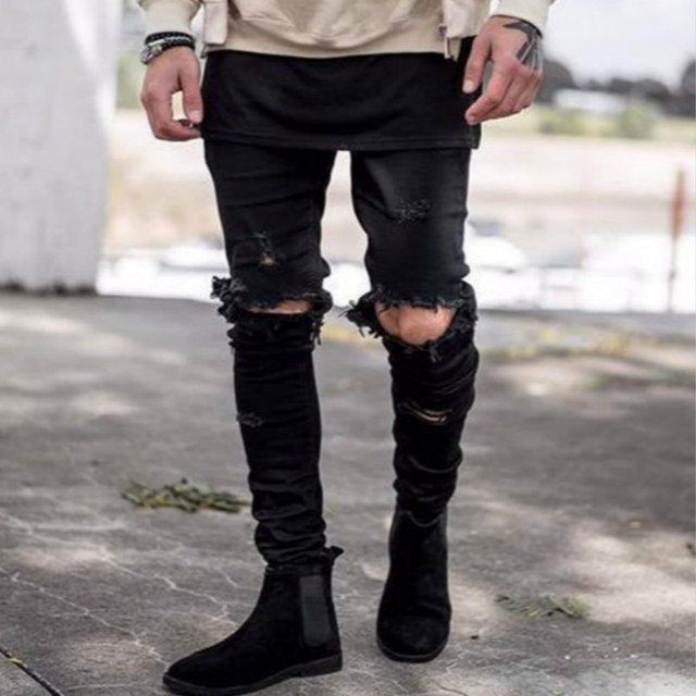 6dbfaadf52d3 Ripped Knee Black Jeans American Hi-street Style Kanye West Big Hole Skinny  Jeans Men