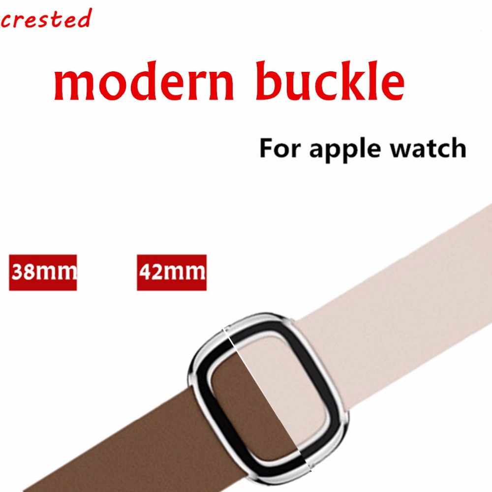 CRESTED Leather Modern buckle band For Apple Watch 3 42 mm/38mm iwatch 3/2/1 watch band strap wrist band bracelet watchband crested nylon band strap for apple watch band 3 42mm 38mm survival rope wrist bracelet watch strap for apple iwatch 3 2 1 black