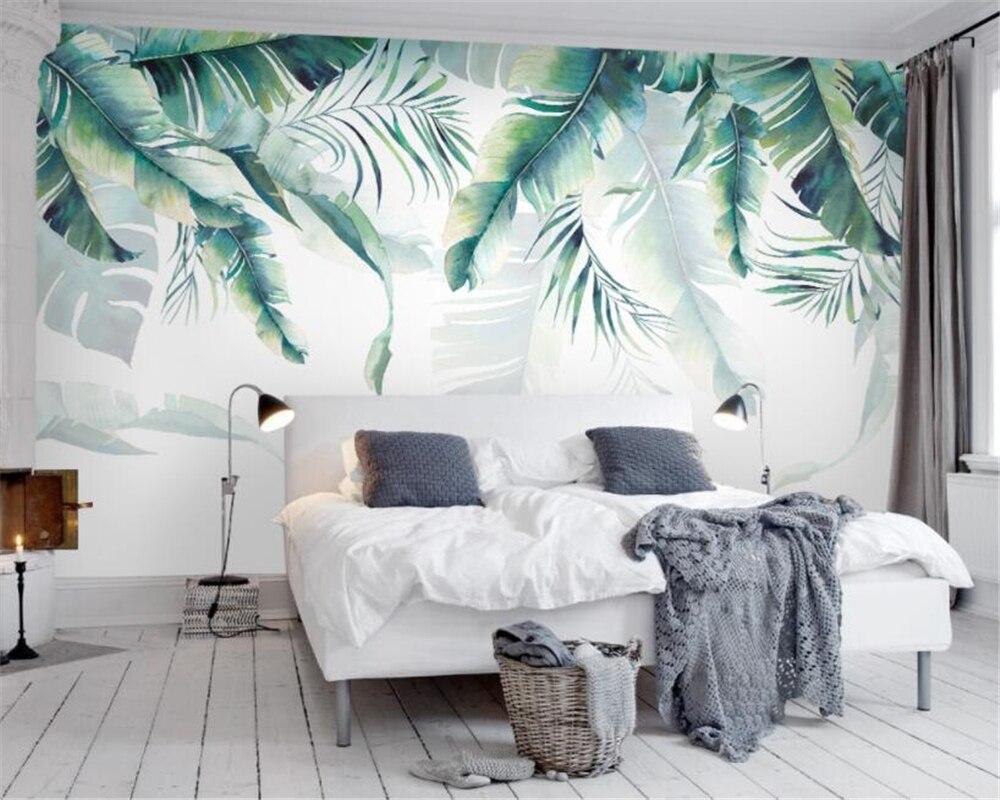 Купить с кэшбэком beibehang Custom wallpaper retro tropical rainforest palm banana leaf mural cafe restaurant background walls mural 3d wallpaper