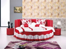 Современный дизайн мягкой кожи кровать / золото / большой двойной мебель для спальни, Современный стиль круглый местный номер