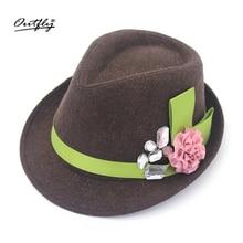 Flannel Flower Top Hat Ladys Fashion Hat Jazz Hat Trilby For Women Par