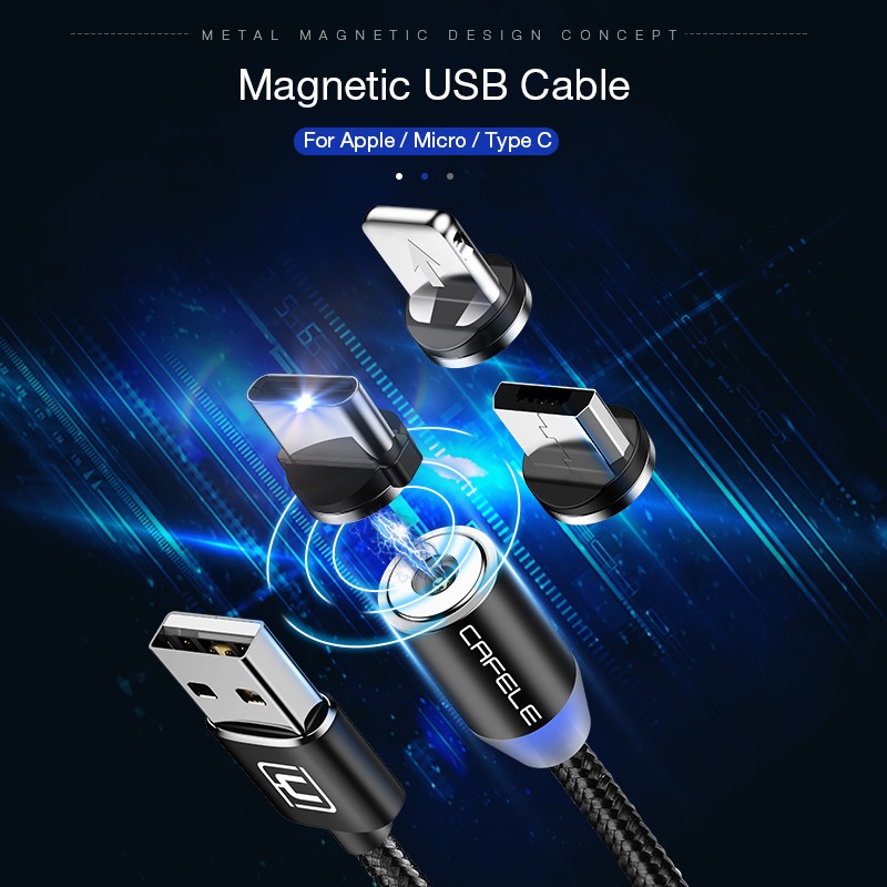 CAFELE Magnetic USB Cable Micro USB Type C Cable for iphone Samsung Huawei Xiaomi Magnet Charger Nylon Wire with LED Light 2M in Mobile Phone Cables from Cellphones Telecommunications