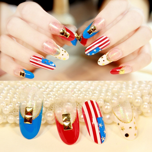 pre designed nails tips oval long flag style rivet design fake nails