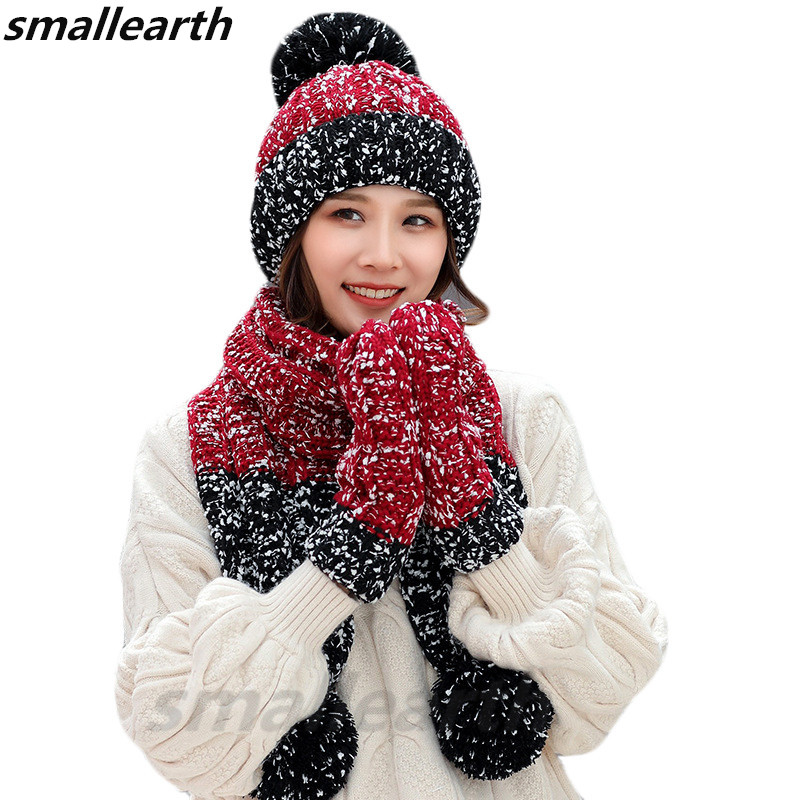 Warm 3 Pieces Set Winter Hats Scarf Gloves For Women Girls Thick Cotton Winter Accessories Hats Sets Female Beanie Scarf Gloves