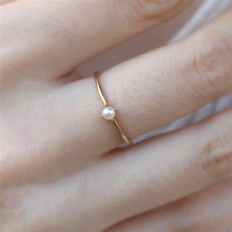 Tisonliz Dainty Simple Pearl Rings for Women Gold Thin Finger Rings Female Engagement Rings Bead Jewelry anillos Dropshipping