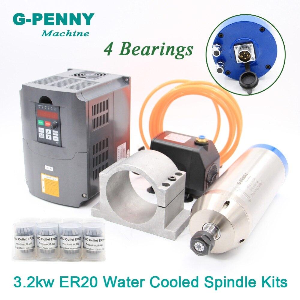 220 v/380 v 3.2KW ER20 kit de husillo de Motor refrigerado por agua 4 rodamientos y inversor 4kw y 100mm soporte y bomba de agua de 75 w y tubo de 5 metros