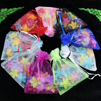 500pcs/lot Wholesle New Random Mixed Color Drawstring Organza Pouch Gift Bags Fit Wedding Party 15x20cm
